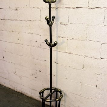 San Antonio Coat Rack In Brushed Brass Gray Steel Combo With Natural Stained Wood