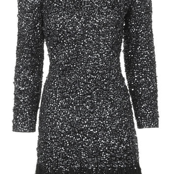 Limited Edition Embellished Feather Hem Bodycon Dress