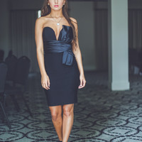 Strapless Bridesmaids Dress in Black