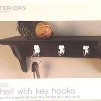 Wall Shelf with Key Holders Black  Interiors by Design  14 x 5 x 5 inch  New