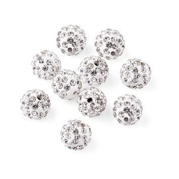 100pcs 10mm Round Pave Disco Ball Beads Polymer Clay Rhinestone Beads for jewelry making Hole: 1.5mm