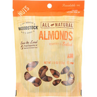 Woodstock Nuts - All Natural - Almonds - Whole - Roasted - Salted - 7.5 oz - case of 8