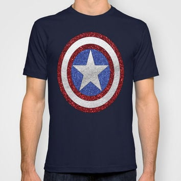Captain America Glitter Style Graphic T-Shirt:  MENS + WOMANS