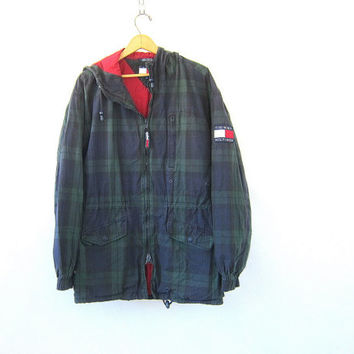 Vintage blue and green plaid jacket. Oversized parka jacket. Slouchy spring coat. Tommy Hilfiger coat / women's size Large