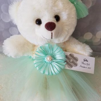 Flower Girl Gift Teddy Bear in Mint Green Tutu dress color