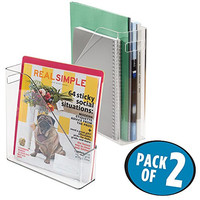 mDesign Office Supplies Desk Organizer for File Folders, Magazines, Notebooks - Pack of 2, Clear