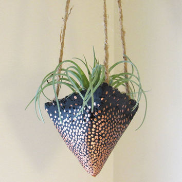 Concrete Planter, Hanging Succulent Pot, Modern Geometric Planter, Black Bronze Plant Holder, Air Plant Holder, Office Planter, Home Decor