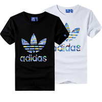 """Adidas"" Unisex Fashion Casual Clover Letter Print Short Sleeve T-shirt Couple Shirt Top Tee"