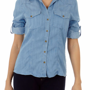Classic Denim Button Down Shirt