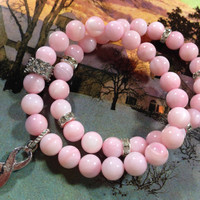 Beautiful luminous pink natural Mother of Pearl double stack bracelets. Breast Cancer Awareness Bracelet