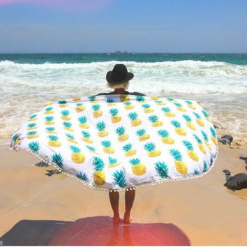 Pipeapple Print Tapestry Beach Towel Beach Yoga Mat Decor Boho 12620 Diameter 150cm