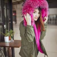 Online Shop C34 winter Womens Faux Fur Lining Parka Jacket Woman Green Army Raccoon Fur Collar Hooded Warm Parkas multi color Coat Tops|Aliexpress Mobile