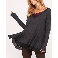 v-neck raglan linen ruffled double hem top with thumb-holes - metallic black
