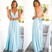 Sexy Long Bandage Multiway Convertible Wrap Robe Maxi Dress