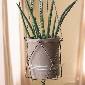 Wire Metal Macramé Hanging Planter with S Hook
