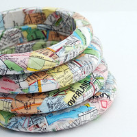 $22.00 Eco Friendly Travelers Map Bangle Bracelet  Kansas by SquishySushi