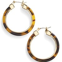 Women's Lauren Ralph Lauren Faux Tortoiseshell Hoop Earrings - Brown