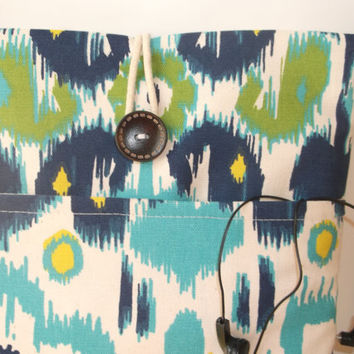 Macbook Pro 13 Case, laptop bag, macbook case cord pocket, Mac book Bag, Macbook Pro Sleeve, pro retina, ikat accessory pocket, turquoise