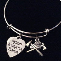 My Heart Belongs to a Fireman Expandable Silver Charm Bracelet Occupational Fire Hat Fire Department Wife Gift Adjustable Wire Bangle