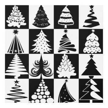 Black And White Christmas Tree Holiday Pattern Panel Wall Art