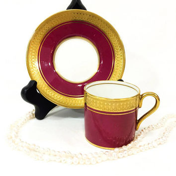 Aynsley Demitasse Cup and Saucer, Deep Red & Etched Gold, Formal Neoclassical Design, Glossy Glazed Finish, Vintage 1950s English Bone China