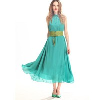 Halter Chiffon Green Dress TFDN016G - Fashion Destination|Thisfind.com