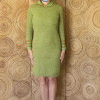 Unique Vintage Crochet Dress - 60s Midi Dress - Mid Length Green and Orange Crochet Dress