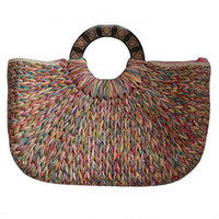 Ladies Hand-woven Shopping Beach Basket Fully Lined Straw Bag / Satchel Bag Tote/straw handbag