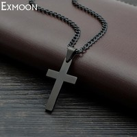 Male Black Cross Necklace Men Titanium Stainless Steel Chain Link Vintage Punk Cross Jesus Necklaces&Pendants Party Crux Jewelry