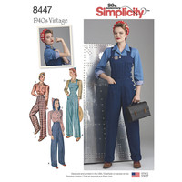 Simplicity Pattern 8447 Misses' Vintage Pants, Overalls and Blouses