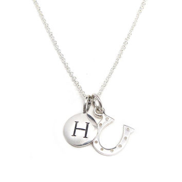 Silver Initial & Horseshoe Charm Necklace