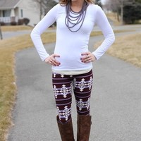 Modern Tribal Striped Leggings