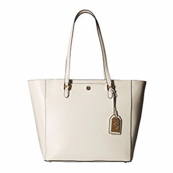 Lauren Ralph Lauren Saffiano Leather White Tote Bag Brand New!