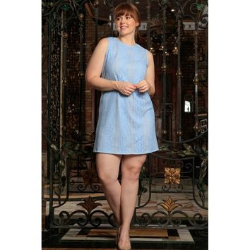 Baby Blue Crochet Lace Sleeveless Party Curvy Dress Women Plus Size