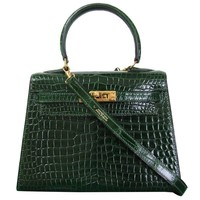 HERMES Mini Kelly Sellier Bag Vert Fonce Dark Green Crocodile GHW 20 cm RARE