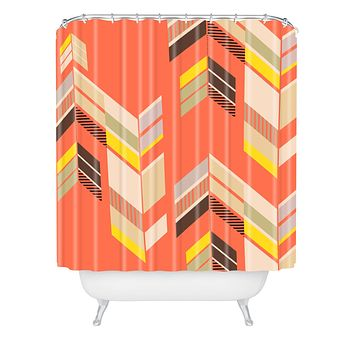 Gabi Chevron Coral Shower Curtain