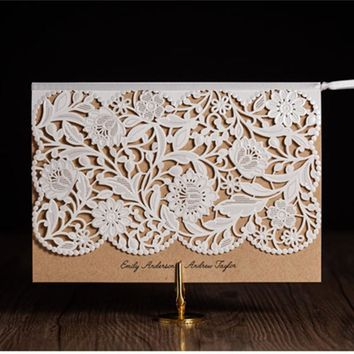 Lace Flower Paper Wedding Invitation Card Wedding Birthday Party Table Decorative Centerpiece Events Party Favor Supplies