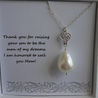 Mother of the Groom Gift, Mother in Law Gift,  Silver Heart Necklace,Thank You Mom, Pearl Necklace, Gifts For Mom, Wedding