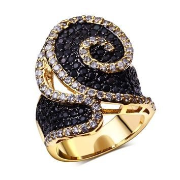 DreamCarnival 1989 Twisted Look Brass Ring for Women Black White Contrast Gold-Color Wedding Engagement Jewelry Anillos Mulheres