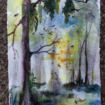 Wetland Morning Landscape Sunrise Original Watercolor on Handmade Paper Painting by Ginette