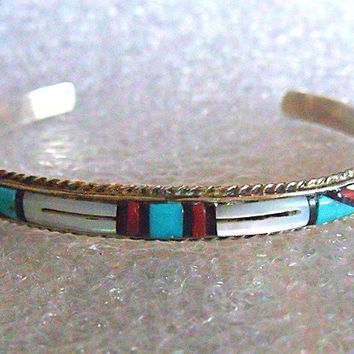 Zuni Bracelet - Signed Native American Jewelry - John and Rosalie Bowannie Mosaic Inlay Sterling Cuff with Jet, Turquoise, Coral, and Pearl