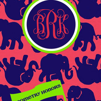 Tusk in the Sun Personalized Monogrammed Lilly Pulitzer Inspired Binder Cover (Individual JPEG File)