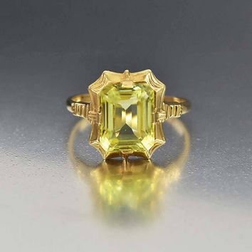 Vintage Art Deco 14K Gold Simulated Peridot Ring Esemco