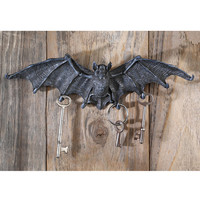 Vampire Bat Key Holder Wall Sculpture in Gray Stone