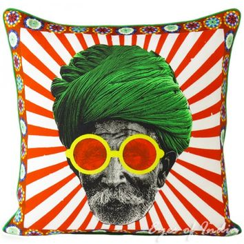 "18"" Indian Colorful Turban Cotton Toss Pillow Cushion Cover Ethnic Vintage Decor"