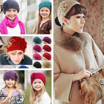 Lovely Headband Girl Soft Knitting Button Hairband Flower Hairbands for Women Hair Accessories Knit Winter Ear Warm Turbands XM