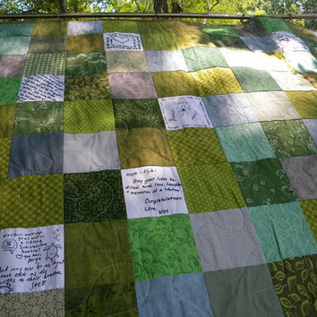 Wedding guest book quilt--Patchwork Quilt--Wall Hanging--match your colors--41X41--fits 50 to 60 signatures.