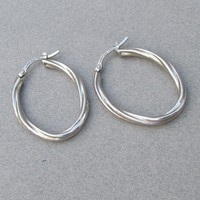 LIRM Italy Twisted Oval Sterling Silver Vintage 1990's Hoop Earrings