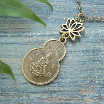 spiritual necklace zen necklace Quan - Yin necklace protection