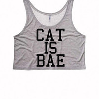 CAT IS BAE Boxy Crop Top | Bye Felicia Womens Bye Felicia Shirts Bae Tank Top Crop Top Boxy Tank Cat is Bae Pizza Is Bae